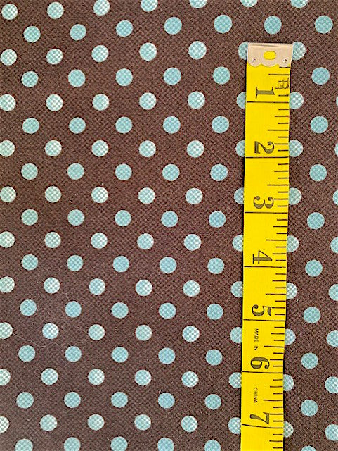 Fabric - Spots - Blue Spots on Brown Background