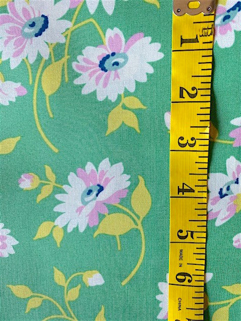 Fabric - Floral - Medium Scale on Green Background