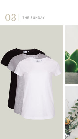 The Sunday t-shirt, three colours, black, grey and white, essential wardrobe items