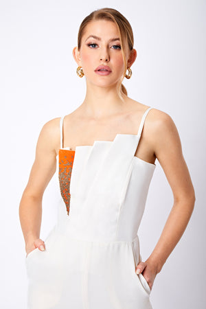 SAFFRON BEADED JUMPSUIT - Aarabhi