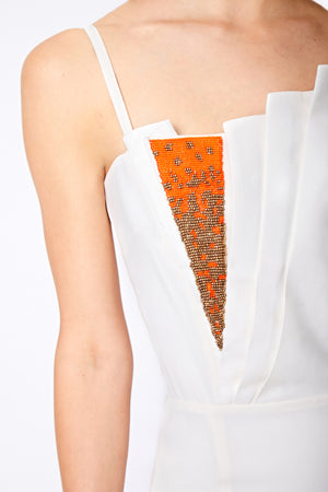 SAFFRON BEADED DRESS - Aarabhi