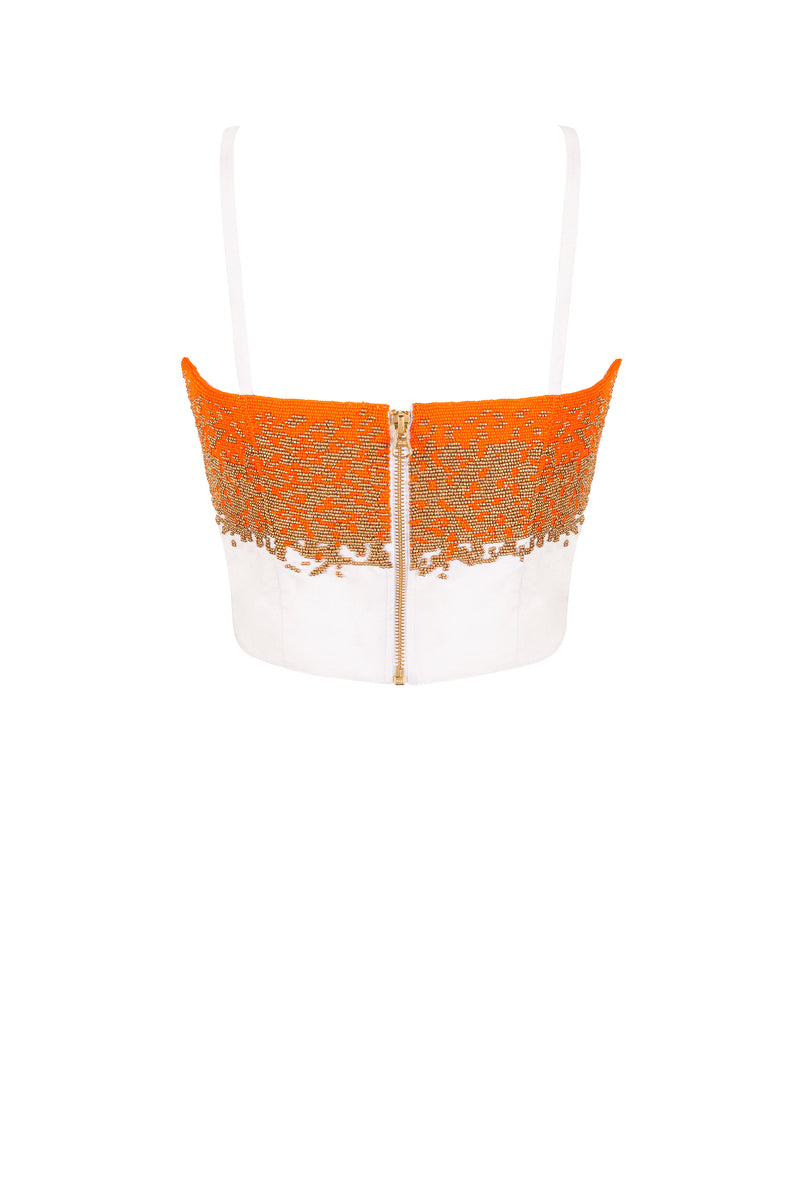 SAFFRON BEADED BRALETTE TOP - Aarabhi