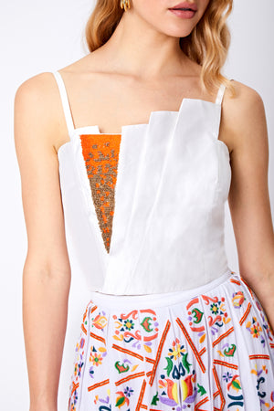 SAFFRON DRAPED BEADED TOP - Aarabhi