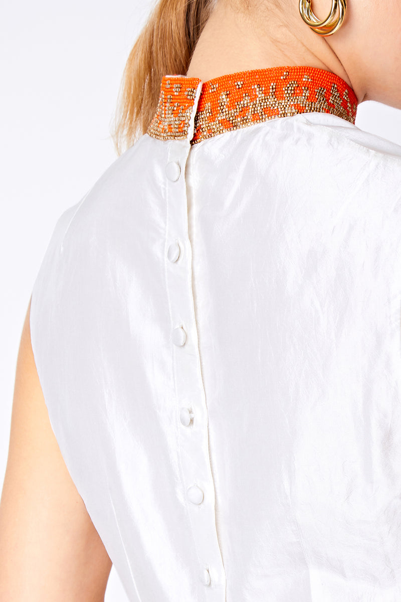 SAFFRON BEADED COLLAR TOP - Aarabhi