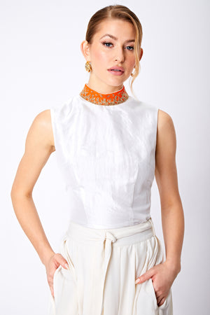 SAFFRON BEADED COLLAR TOP