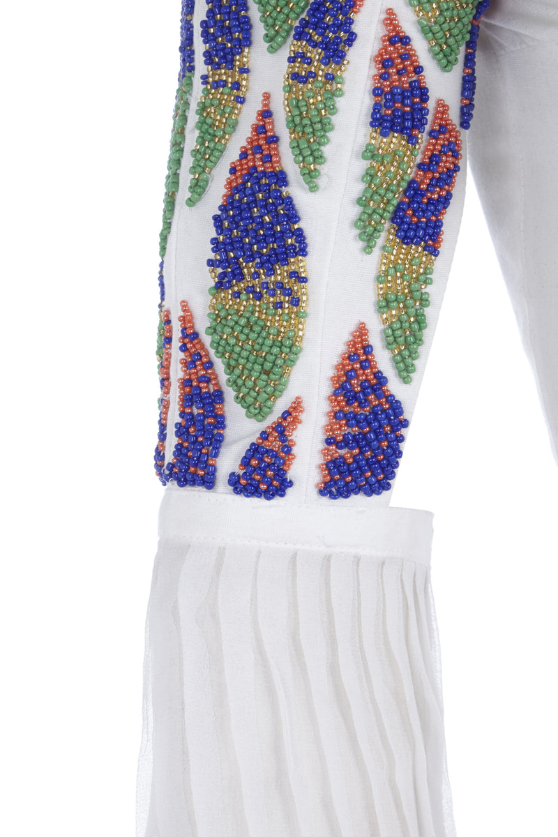 KING FITTED DRESS WITH BEADED SLEEVES - Aarabhi