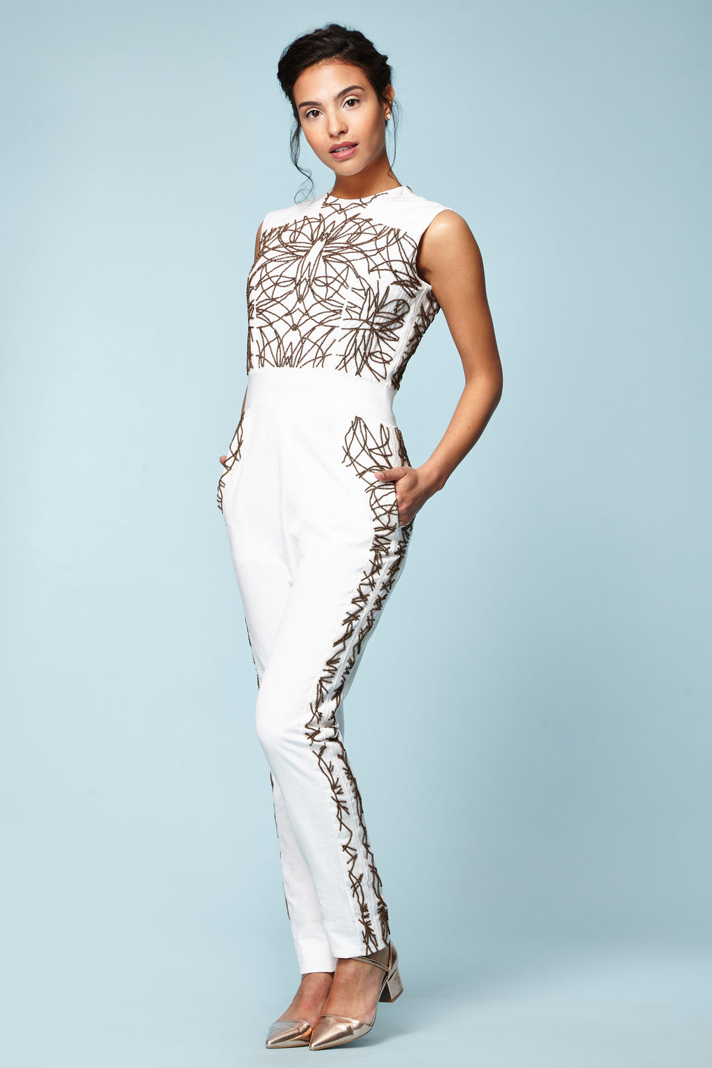 BRONZE BEADED JUMPSUIT - Aarabhi