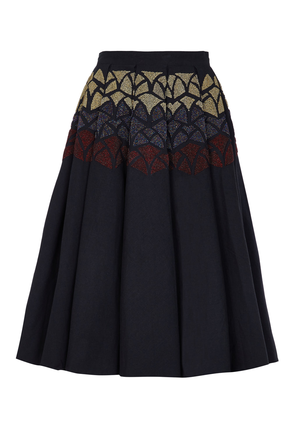 ROSE BEADED BOX PLEAT SKIRT