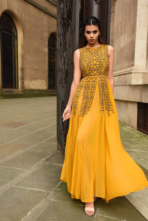 MEHRAULI BEADED MUSTARD DRESS - Aarabhi