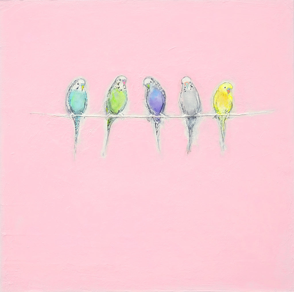 Budgies on a line
