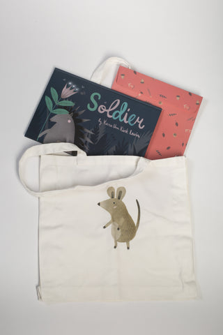 Hardcover Soldier Book and Helper Mouse Tote