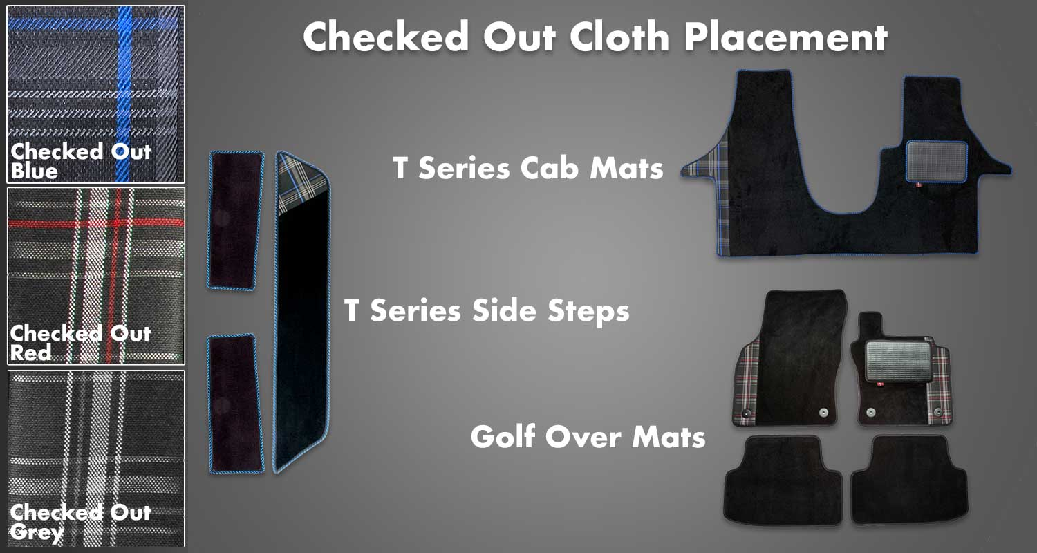 Info graphic showing placement of Checked Out cloth on Rugs for Bugs vehicle mats