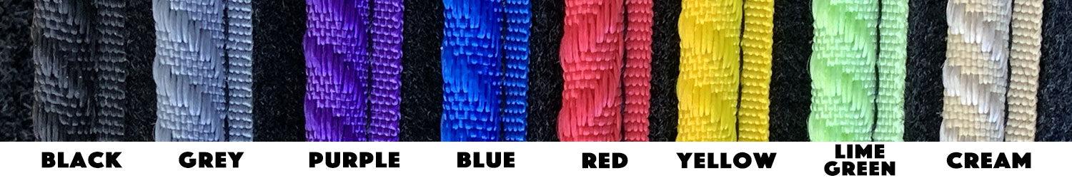 Rugs for Bugs edging trim shown in solid colours