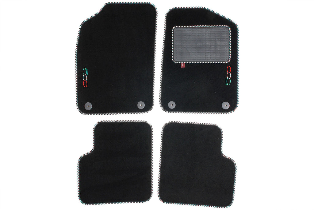 Fiat 500 2012 onwards- Over mat set with Fiat 500 logo and fixings