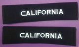 California embroidered padded seat belt covers