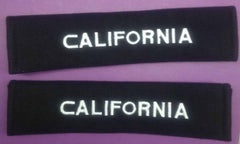 California embroidered Padded seat belt covers.