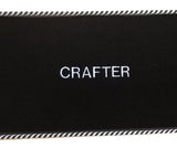 Crafter side steps with embroidered logo