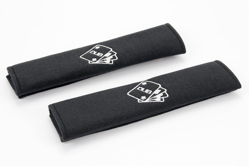 Dub Deck of Cards logo - Embroidered padded seat belt covers
