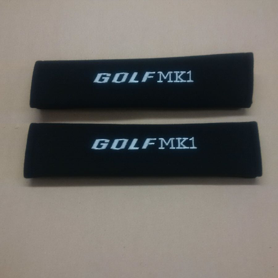Golf MK1 embroidered padded seat belt covers.