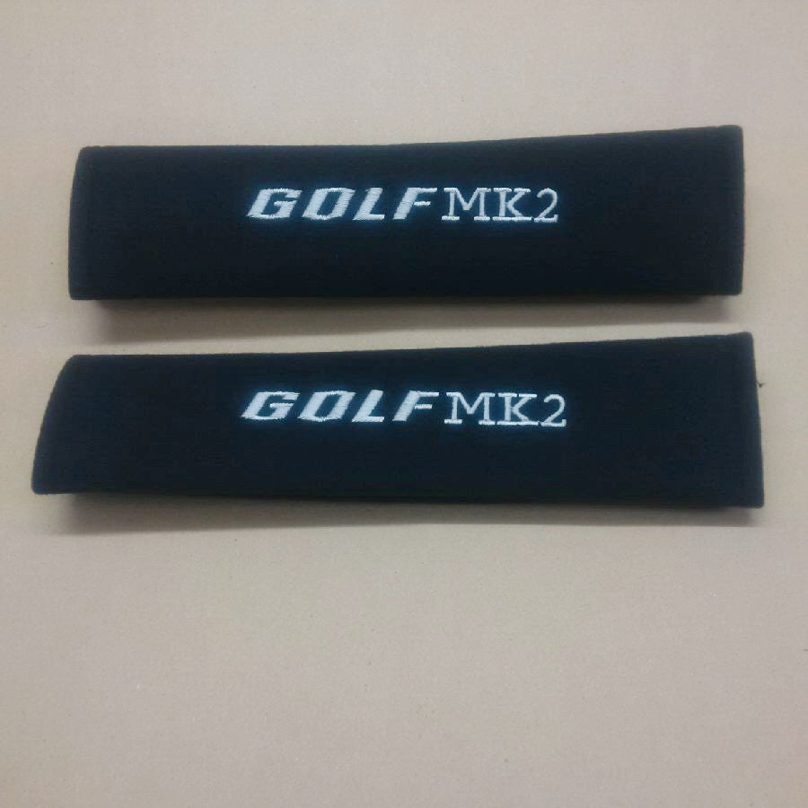 Golf MK2 embroidered padded seat belt covers.