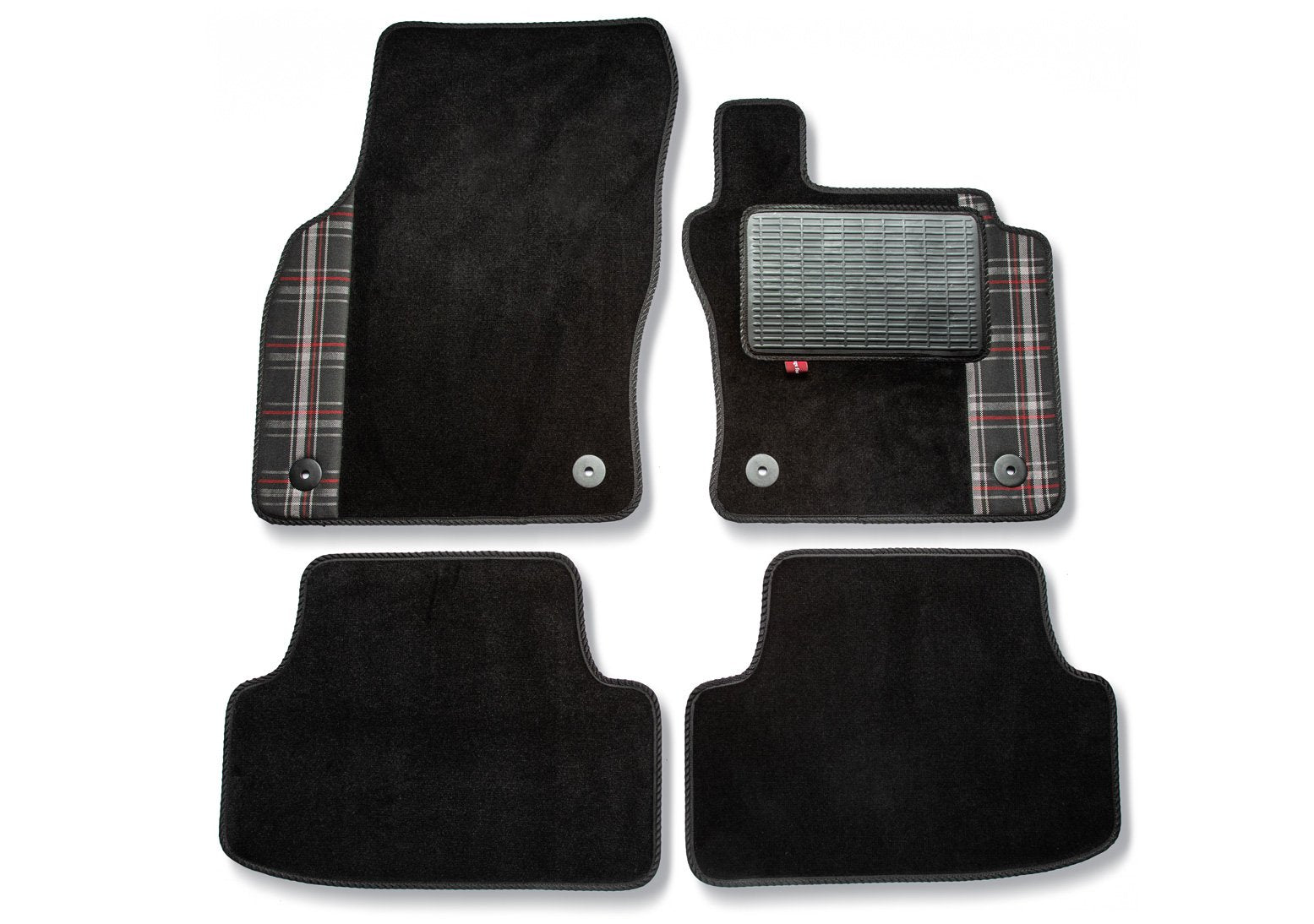 Golf Mark 7 over mat set shown in black automotive carpet with red GTI check fabric trim