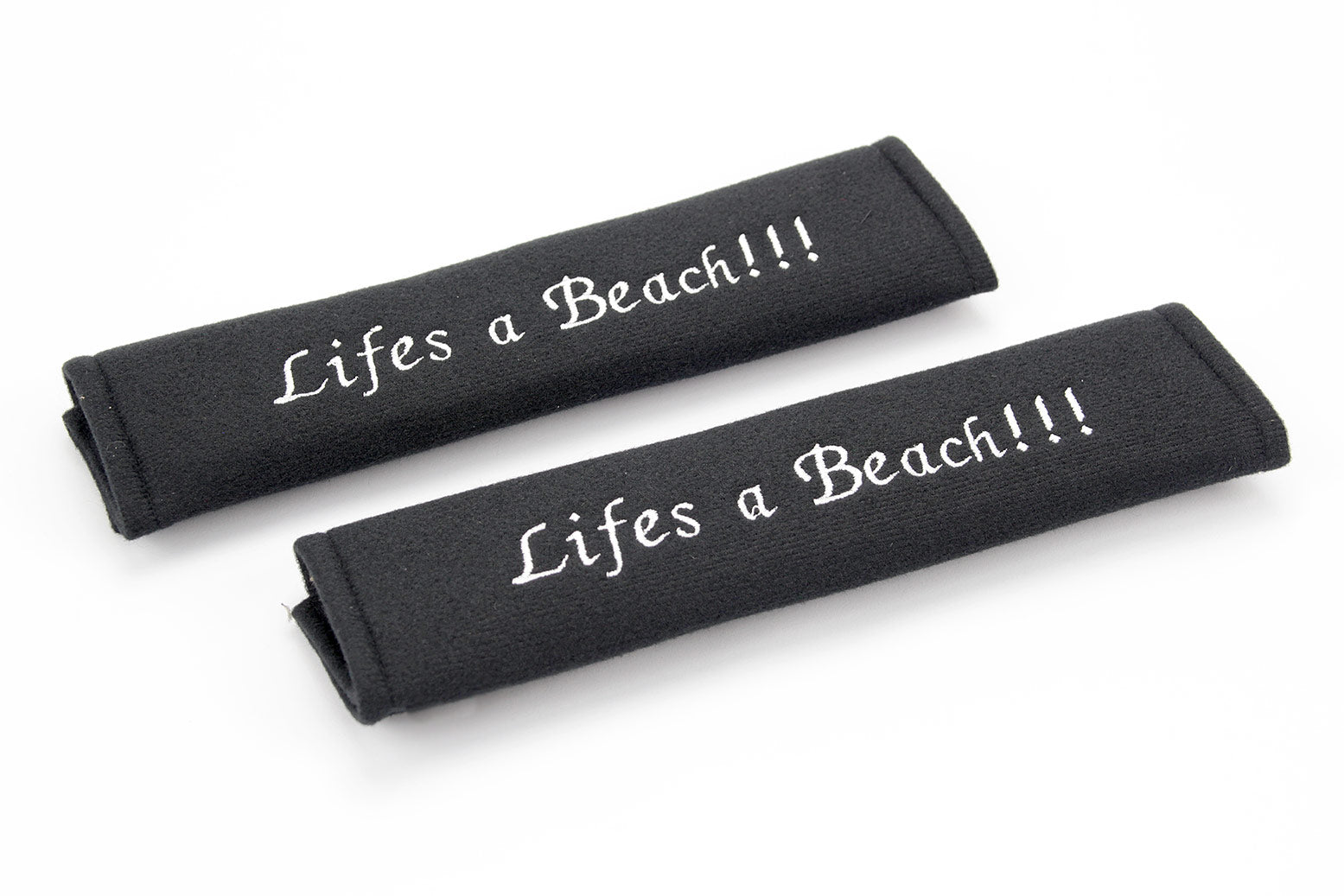 Embroidered padded seat belt cover with lifes a beach logo