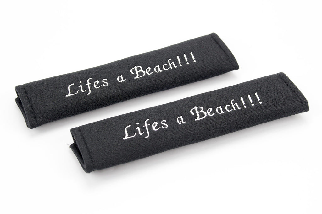 Lifes a Beach logo - Embroidered padded seat belt covers