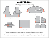 Info graphic showing where logos are placed on mats and rugs using the Rugs for Bugs online embroidery service  Edit alt text