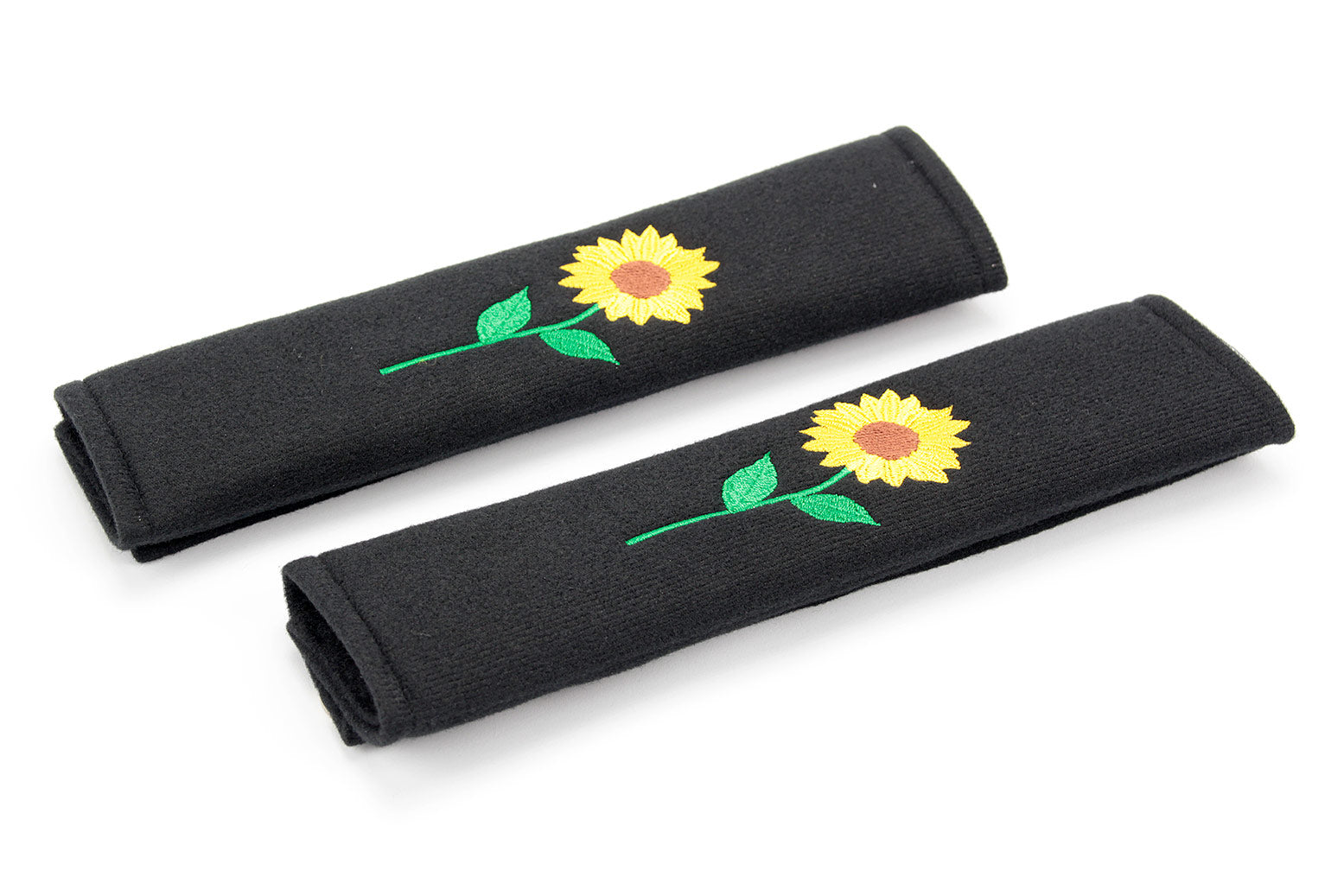 Embroidered padded seat belt cover with sunflower logo
