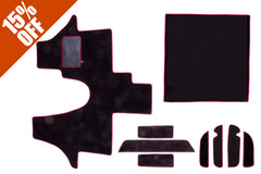t5 cab mat set including cab mat, side steps, living area and door pocket liners in black carpet