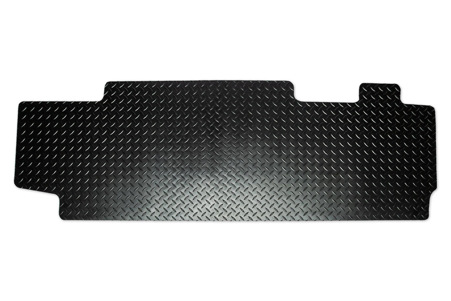 T6 combi rear mat for a 2 plus 1 seat with single slider door shown in black tread plate rubber