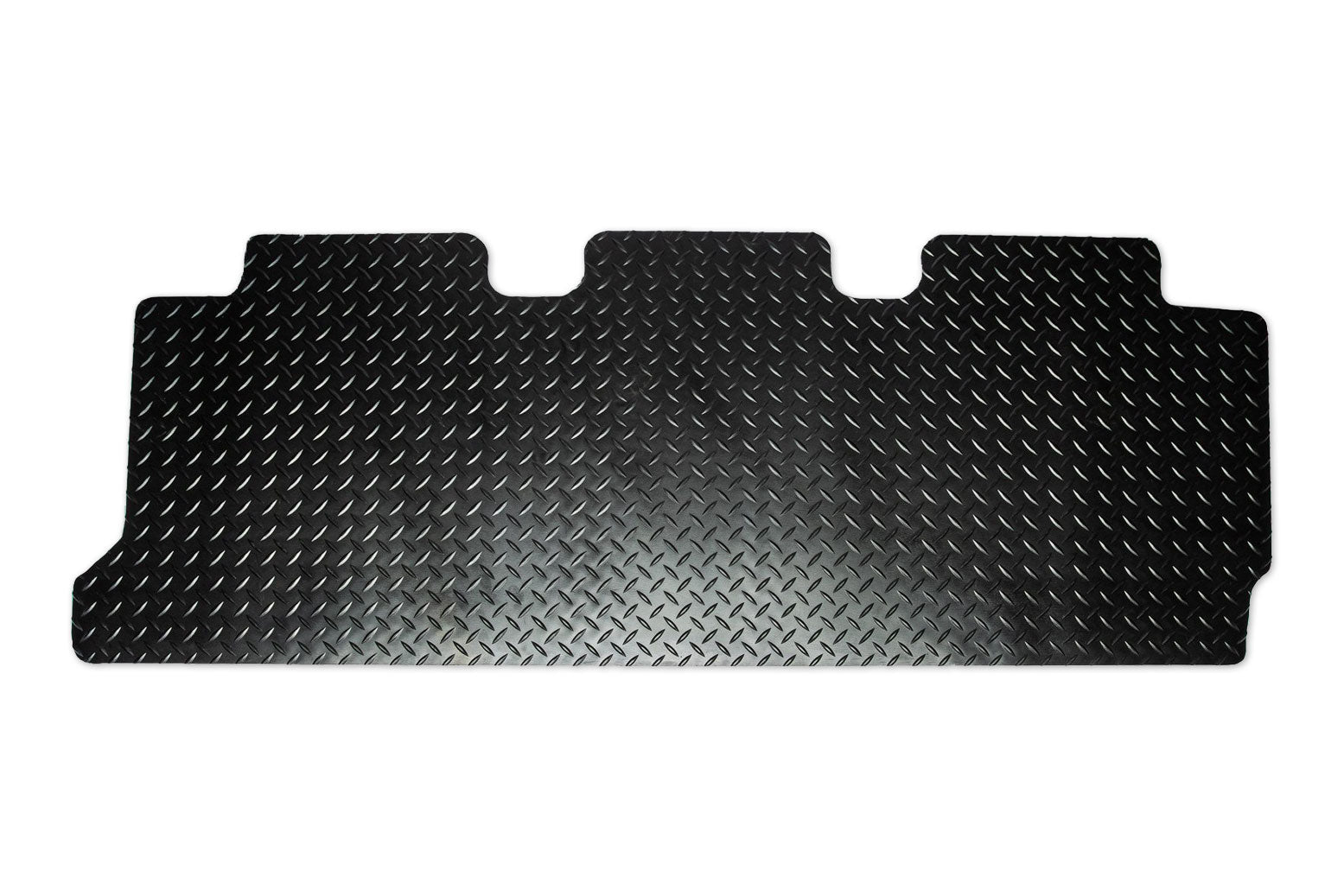 T6 point 1 combi rear mat for triple seat with double slider doors shown in black tread plate rubber