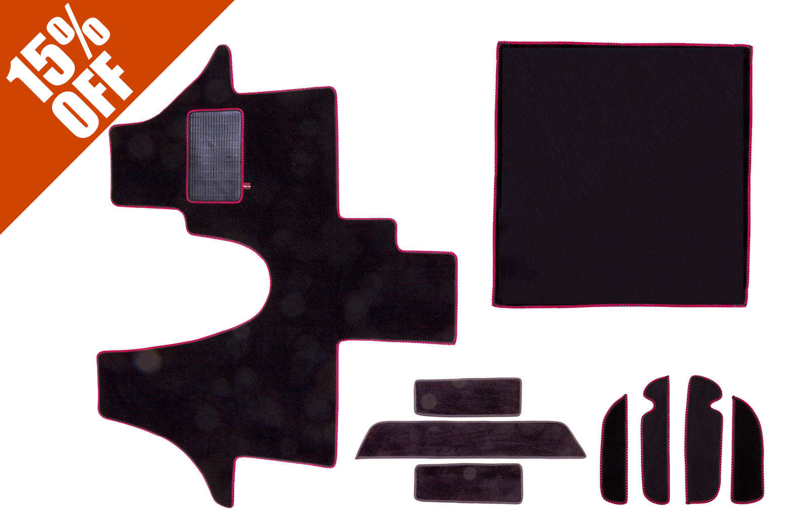 t6 cab mat set including cab mat, side steps, living area and door pocket liners in black carpet