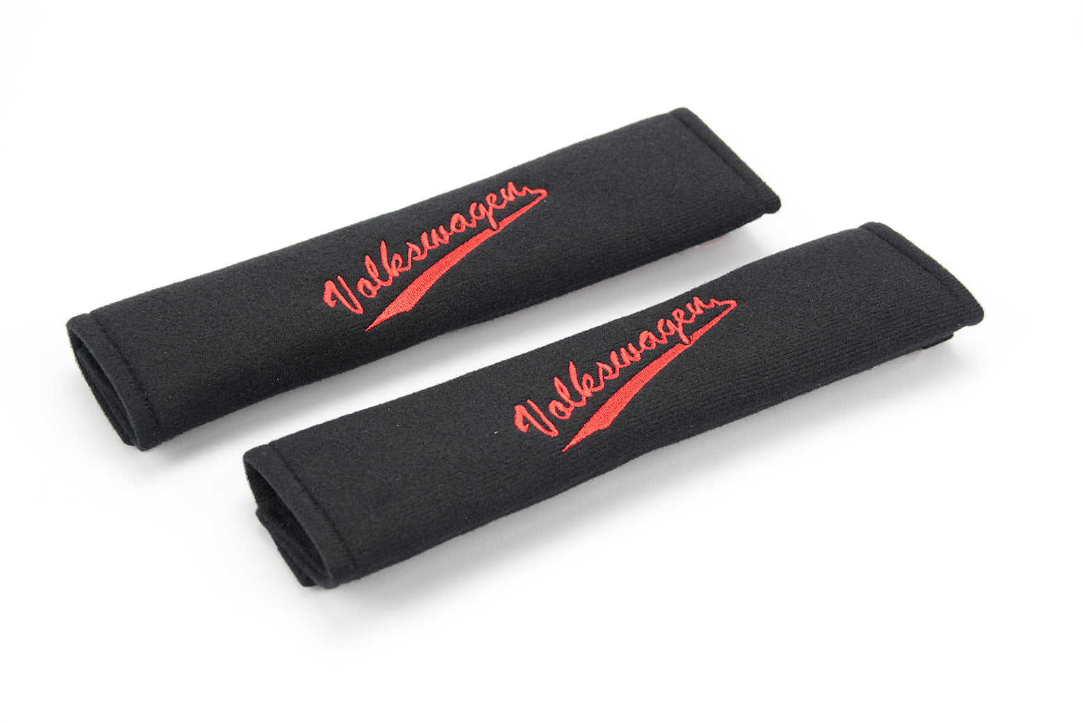 Embroidered padded seat belt cover with Volkswagen swoosh logo