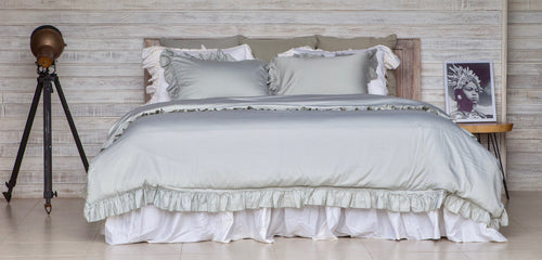 Cotton Sateen Vintage Duvet Cover Set Glacier Grey