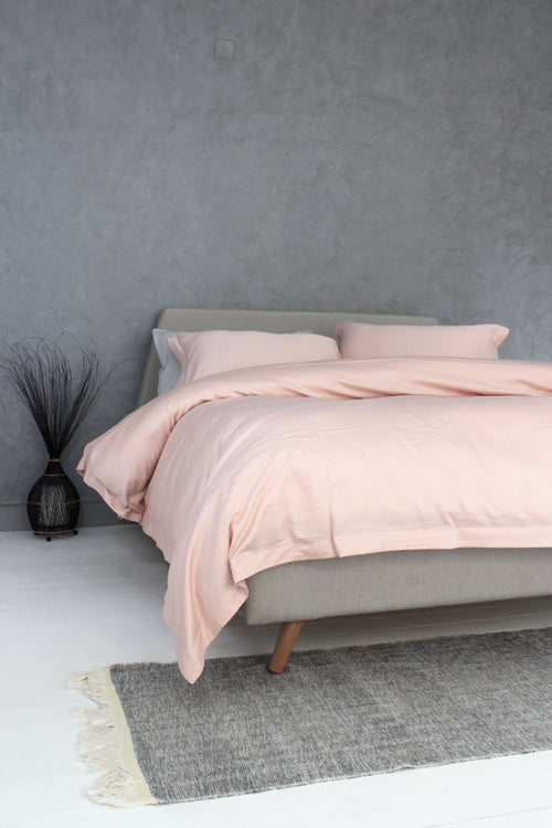 Cotton Sateen Duvet Cover Set Pale Rose
