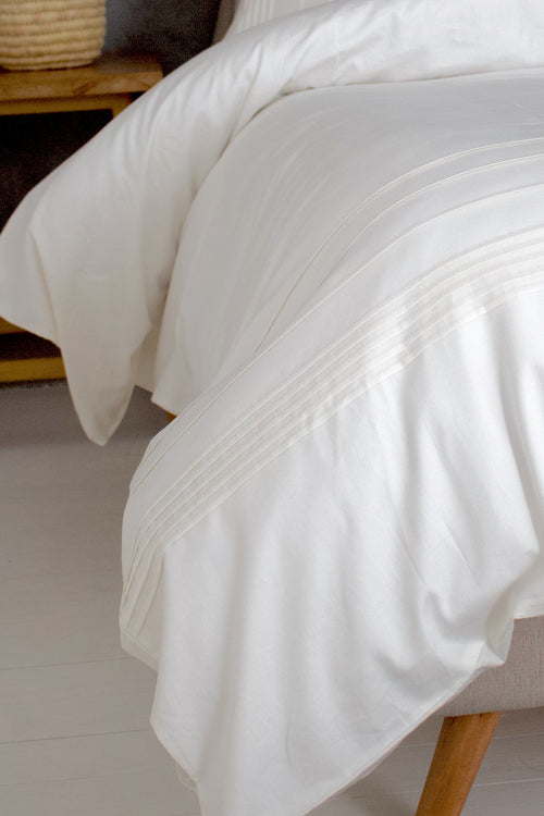 Cotton Sateen Plissé Duvet Cover Set Meringue White