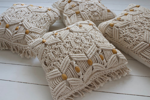 Macrame cushion wood beads