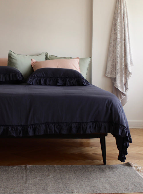 Cotton Sateen Vintage Duvet Cover Set Midnight Blue