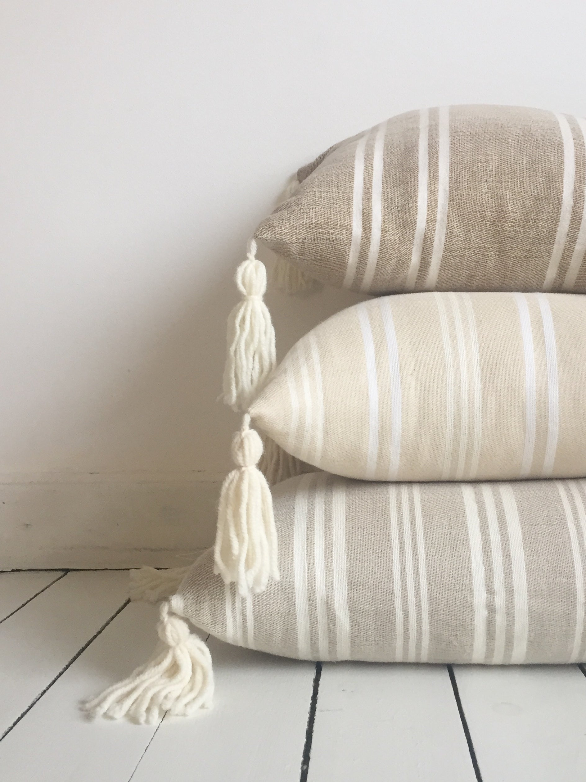Striped Cushion - Ecru