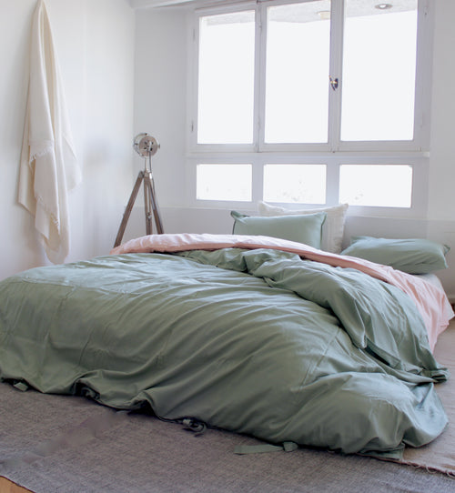Cotton Sateen Neutrals Duvet Set Sage