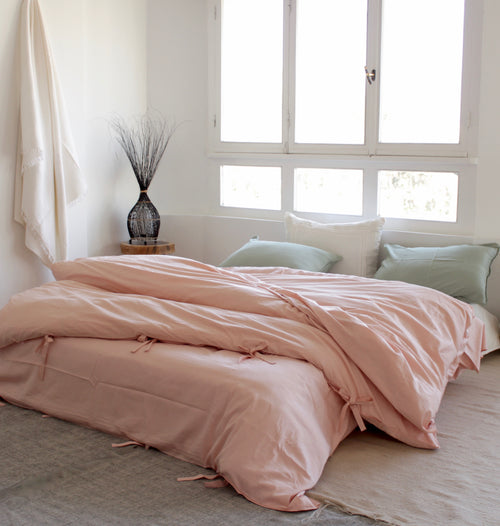 Cotton Sateen Neutrals Duvet Set Quartz Rose