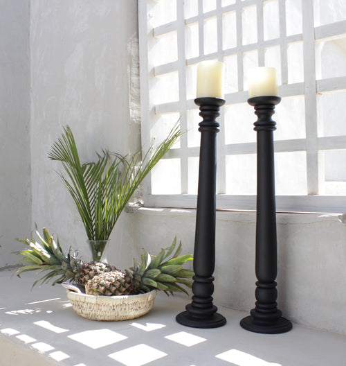 Tall Black Wooden Candle Holders