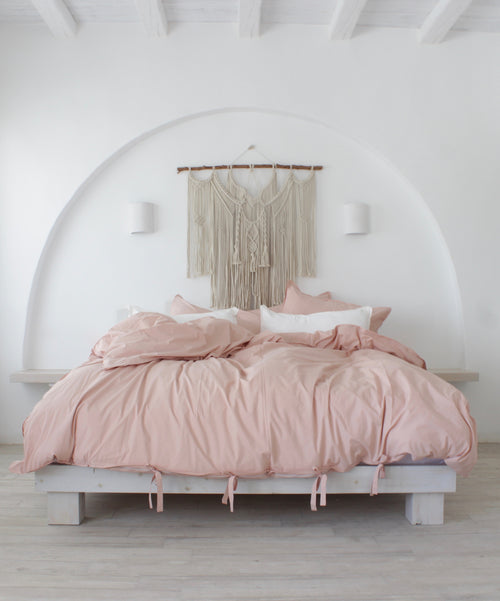 Cotton Percale Mediterranean Duvet Set Earth Rose
