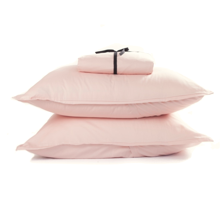 Cotton Sateen Minimalist Fitted Sheet Set Pale Rose