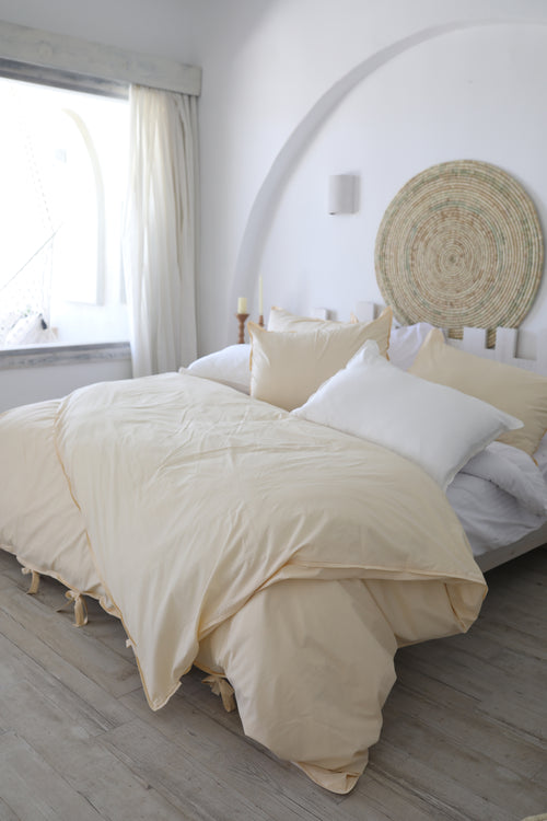 Cotton Percale Mediterranean Duvet Set Sand