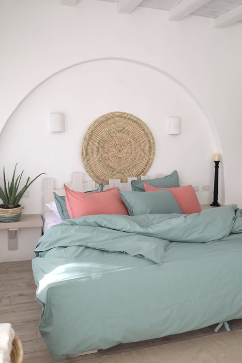 Cotton Percale Mediterranean Duvet Set Echeveria
