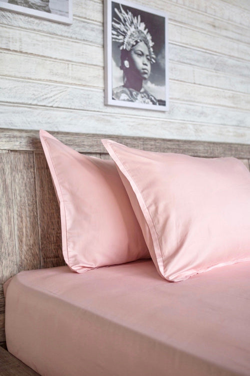 Cotton Sateen Fitted Sheet Set Quartz Rose