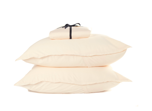 Cotton Percale Fitted Sheet Set Sand