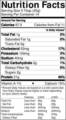 Raw Organic Whey Nutrition Facts